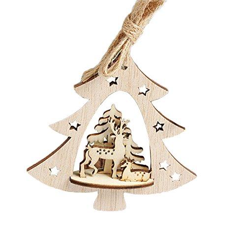 good01Weihnachten Holz Anhänger Baum Santa Claus Star Form hängende Dekoration, holz, beige, Christmas Tree *