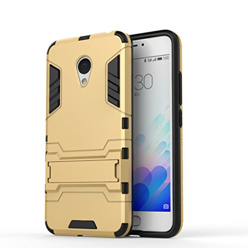 Chevron Back Cover Case for Meizu m3 note (Gold) [Military Grade Version 2.0 With Kick Stand Hybrid Back Cover Case]  available at amazon for Rs.145