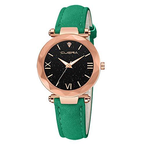 Giologre Uhren Damen Geflochten Armbanduhren Günstige Uhren Wasserdicht Casual Analoge Quarz Uhr Luxus Armband Coole Uhren Lederarmband Mädchen Frau Uhr (Grün(F))