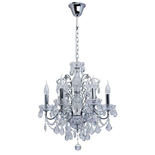 MW-Light 367013306 Lustre Suspension Baroque Vénitien à 6 Lampes Bougies en Métal couleur Argent Brillant décoré de Pampilles en Cristal et Verre Gravé pour Salon Hall d'Entrée 6x60W E14