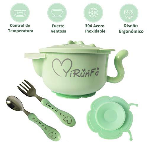Homvik Tazón para Bebé Vajilla Infantil con Tenedor Cucharita Cubiertos Bebé Cuenco Térmico de Acero Inoxidable Recipiente Comida Bebés Niños - Verde