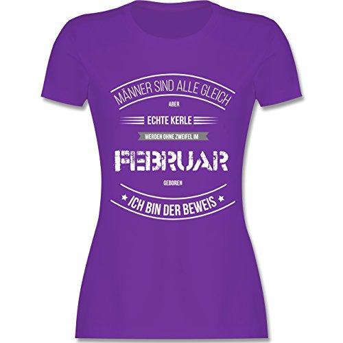 Shirtracer Geburtstag - Echte Kerle Werden IM Februar Geboren - Damen T-Shirt Rundhals Lila