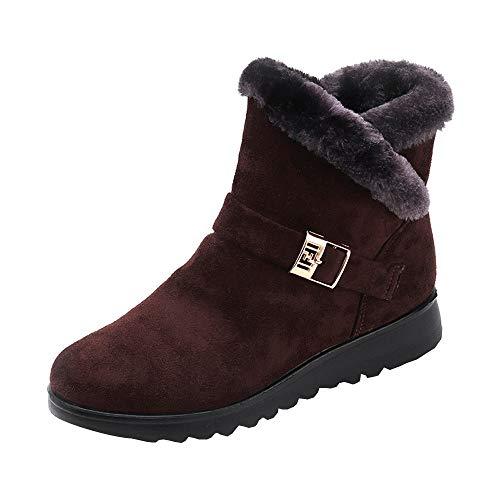 Bazhahei donna scarpa,mantieni caldo scarponi da neve più velluto cerniera stivali corti,invernali/autunno scarpe singole stivaletti a tubo centrale casual con tacco basso,scarpe moda da donna