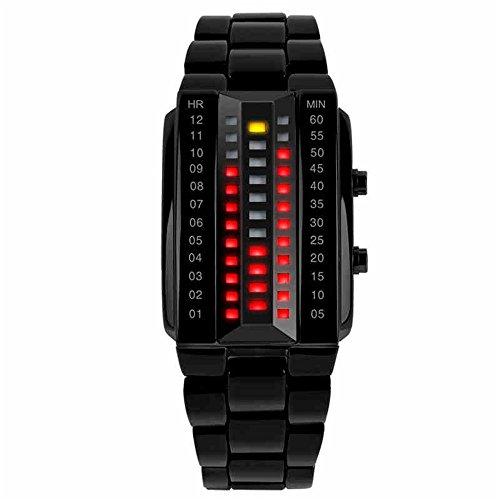 TONSHEN Hombre Binario Relojes de Pulsera Negro Acero Inoxidable 3D Dial Rojo Amarillo LED luz Moda Deportes Relojes Diseño Elegante Simple