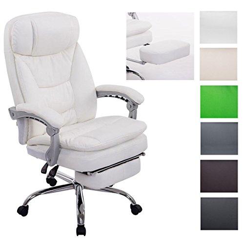 CLP XL Bürostuhl Troy mit Kunstlederbezug   Relaxsessel mit Armlehne und ausziehbarer Fußablage   Höhenverstellbarer Chefsessel max. belastbar bis 160 kg Weiß