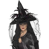 Chapeau de sorciere avec voile et plumes noir