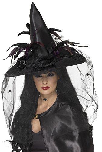 hut, Federn und Netz, Einheitsgröße (Hexe Kostüm Hut)