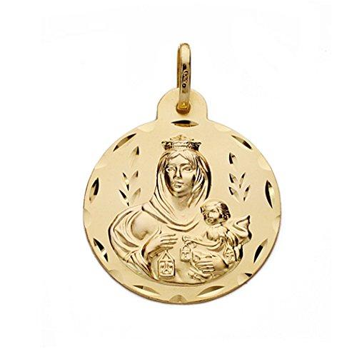 Medalla Oro 18K Virgen Del Carmen 22mm. [Aa0547Gr] - Personalizable - Grabación Incluida En El Precio