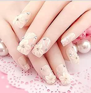 TBOP FAKE NAIL art reusable French long Artifical False nails 24 pcs set flower in Beige color
