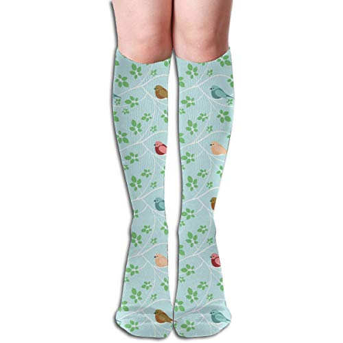 Women's Fancy Design Stocking White Branches And Birds Multi Colorful Patterned Knee High Socks 19.6Inchs