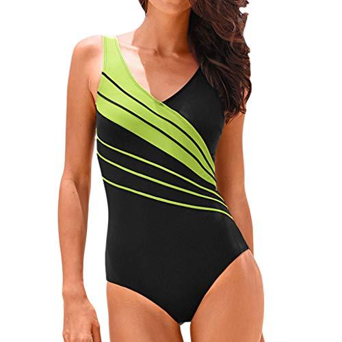 Xmansky Frauen Streifen Badeanzug,Sexy festes Kostüm der Frauen gepolsterter Badeanzug Monokini Bikini stellt Badebekleidung EIN Unterwäsche-Set Bikini