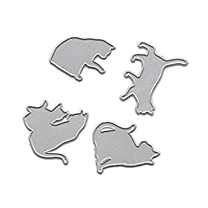 Wuweiwei12 1 Stück ITE-Handarbeits-Ausstechform Katze Metall Stanzschablone DIY Scrapbooking Album Stempel Papier Karte Prägung Basteln Dekoration