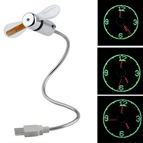 LEDMOMO USB-LED Lüfter-Uhr, Mobile USB-Powered tragbaren Ventilator, Mini USB Schwanenhals Fan für Laptop und PC