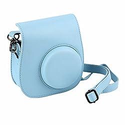 Ledmomo Schultertasche Kameratasche Schutzhülle Pu-leder Für Fujifilm Instax Mini 88 + 9 Instant Kamera (Blau)