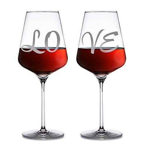 AMAVEL Rotweingläser – 2er Set Weingläser mit Gravur - Love - Standard – Weinglas als...