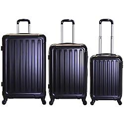 Slimbridge Valise Rigide à roulettes pivotantes de qualité supérieure avec Serrure intégrée - Ensemble Lot de 3 valises rigides pièces, Lydd Noir