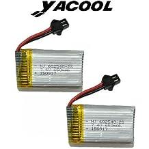 Yacool ® 2 piezas de 7.4V batería de litio de 650mAh de color JJRC H8C H8D RC Quadcopter repuesto parte plata