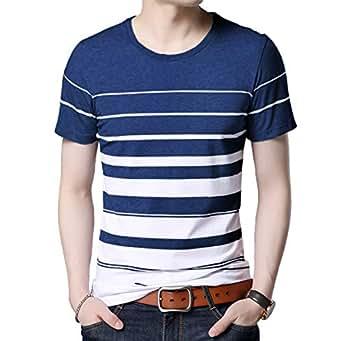 Seven Rocks Regular Fit Men's Cotton T-Shirt (S-T49HS-PBWH, Prussian Blue-White, Small)