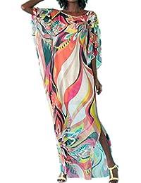 281e3543e5 zhiwenCZW Para Mujer Verano Cuello Redondo Kaftans Traje de baño Encubrir  Rayas del Arco Iris Impreso