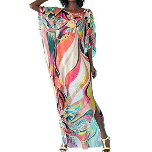 Cutebility Womens Sommer Rundhalsausschnitt Kaftans-Badeanzug vertuschen Regenbogenstreifen mit Blumenmuster Kimono Strandkleid Side Split Maxi Lange Robe - Split Maxi Side