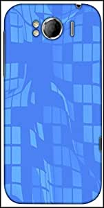 Snoogg Sky Blue Checkered Pattern 2476 Designer Protective Back Case Cover For HTC Sensation Xl