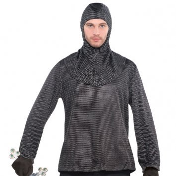 Chain Mail look Tunic with Coif Hood Fancy Dress Accessory (Chainmail Coif Kostüm)