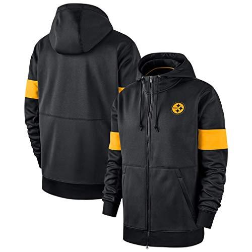 Hoodie for Pittsburgh Steelers Fans Trikots Männer Pullover Zip Fleece Sweatshirts Freizeit Kapuzenpulli Sport Und Mode (Color : Black, Size : XXXL)