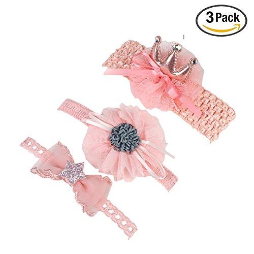 Gyratedream Baby Headband Stretchy Headbands for Girls 3Pcs Newborn Hair Accessories Turban Flower Headband Princess Headwear