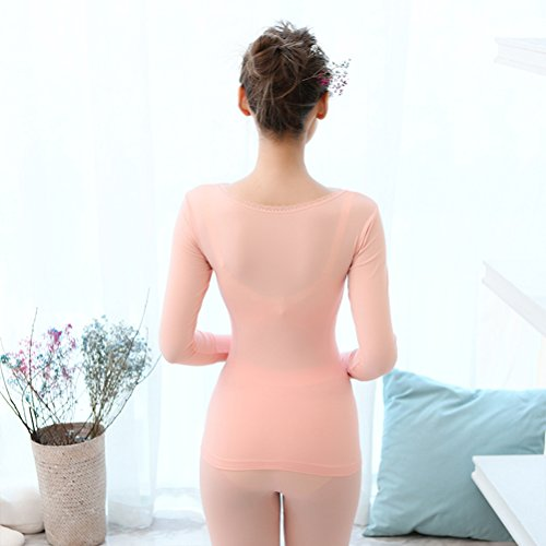Zhhlaixing Hot Fashion Donne Lined Shirt and Pants Thin Slim Seamless Thermal Underwear Set Light Purple