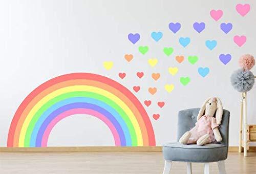 Kapowboom Graphics Pastel Rainbow & Hearts wall sticker decal children