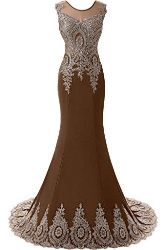 Sunvary Romantisch Rund Neu Tuell Applikation 2016 Lang Meerjungfrau Abendkleider Partykleider Ballkleider Schleppe Schokolade