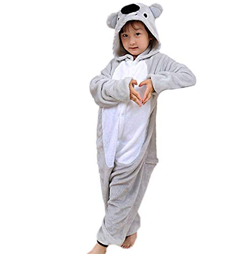 DELEY Unisex Kinder Cartoon Tier Pyjamas Strampelanzug Einteiler Nachtwäsche Cosplay Kostüm Halloween Schlafanzug Koala 3-4 (Bademantel Und Hausschuhe Kostüm)