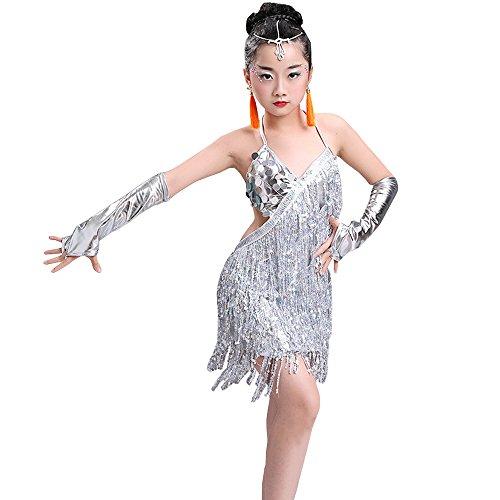 in Tanzkleid Röcke Tango Kleid Cha Cha Jazz Performing Kostüme, Weiß, EU 100=Tag110CM (Fringe Jazz Dance Kostüme)