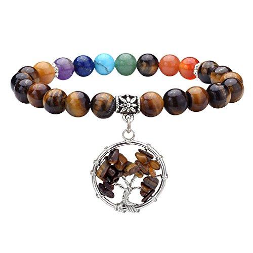 Jovivi Joyas - Pulsera de mujer con piedras semipreciosas que representan los 7 chakras para sanación, terapia energética, amuleto de la suerte, cristal rosa, amatista, opalita Occhio di Tigre