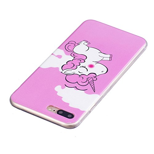 Cover iphone 7 Plus / iphone 8 Plus ,Custodia iphone 7 Plus / iphone 8 Plus,Cozy Hut Ultra Sottile Custodia Nottilucenti Luminoso Gel Silicone per iphone 7 Plus / iphone 8 Plus , Ultra Slim Anti Slip  Rosa Unicorno