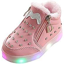BBestseller Invierno de los niños más Terciopelo Arco cálido pedrería Suave Cremallera Zapatos LED Destellos Zapatillas