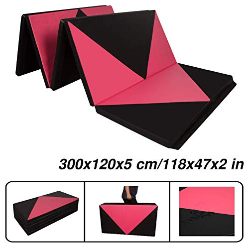 CCLIFE 300x120x5cm Klappbare Weichbodenmatte Turnmatte Fitnessmatte Gymnastikmatte rutschfeste Sportmatte Spielmatte, Farbe:Schwarz&Rot Raute, 4-Fach faltbar