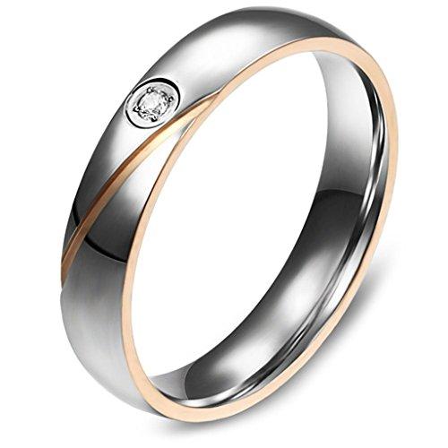 Aooaz Schmuck Unisex Ring,Intarsien CZ Herz Edelstahl Ehering Verlobungsringe Silber Schwarz Gold