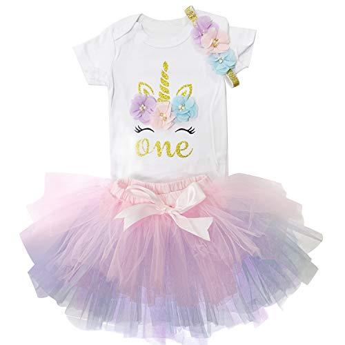 rn 1. Geburtstag 3 Stück Outfits Strampler + Tutu Kleid + Stirnband (1 Jahre, Pink&Lila) ()