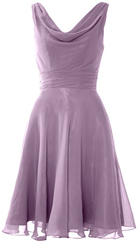 MACloth Elegant Cowl Neck Cocktail Dress Short Wedding Party Bridesmaid Gown Wisteria