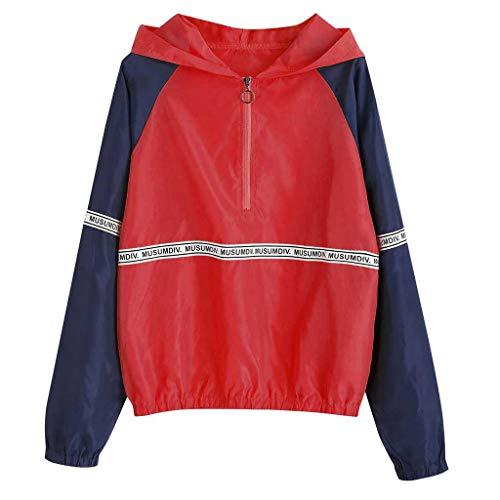 NAIHEN DAMEN Casual Zweifarbige Hoodies Langarm-Sweatshirts Cowl Neck Drawstring Kapuzenpullover Top mit Taschen -