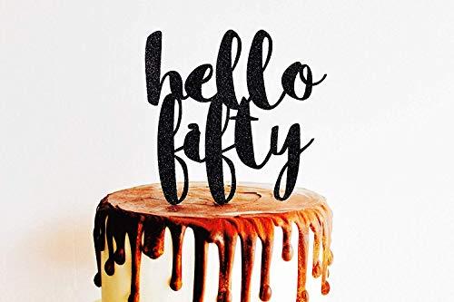 Personalisierbare Hochzeitstorte Topper 50. Hello Fifty Birthday Script Party Part Custom Number 30Th Geburtstag Party Hochzeit Geschenk Ideen