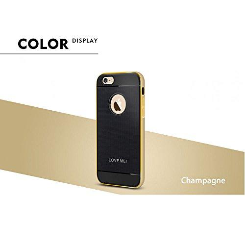Love Mei Schutzhülle für iPhone 6Plus 14cm, Hybrid Aluminium Rahmen Bumper Gummi-Haut, Schutzhülle Champagnerfarben
