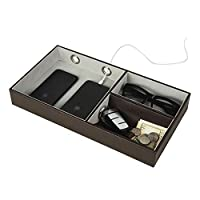 Jack Cube Design Multi Valet Tray Leather, Desk or Dresser Organizer, Catch-all For Keys, Phone, Wallet, Coin, Jewelry and Night Stand(10.6 x 7.2 x 1.9 inches) - MK233A