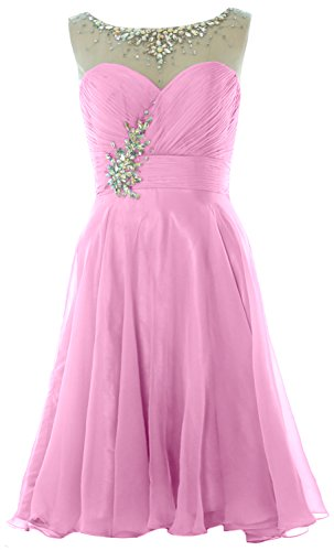 MACloth Women Straps Crystal Chiffon Short Prom Dress Cocktail Party Formal Gown Rosa