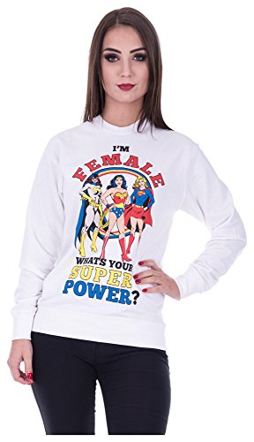 Loomiloo Sweater Wonderwoman Pulli Damen Wonder Woman Pullover Superwoman Sweatshirt Superhelden Comics Halloween Kostüm Karnevalskostüme Karneval Fasching (L, ()