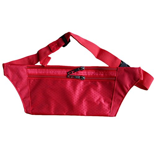 FEITONG Unisex Travel Hüfttasche Handliche Wandern Sporttasche Fanny Satz Taillen Gürtel Reißverschluss Beutel (Schwarz) Rot