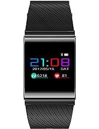 Loluka Unisex Fitness Tracker Digital Quarz Kontinuierliche Herzfrequenz Blutdruck Schrittz?hler Wasserdicht Mehrsprachig Schwarz