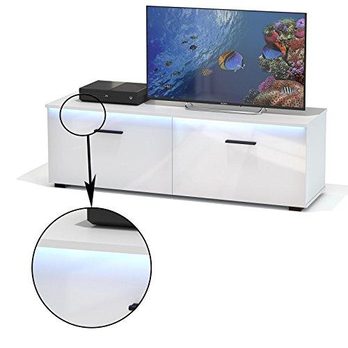 TV Lowboard Bank MALIBU in weiß hochglanz mit LED Beleuchtung, 138 cm Fernsehschrank
