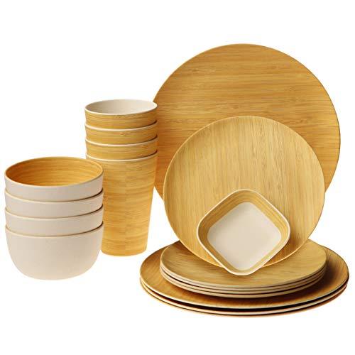 Earth's Dreams Geschirr-Set, wiederverwendbar, Bambus, für 4 Personen mit Tellern aus Bio-Bambusfaser, Tassen, Schüsseln und quadratischer Untertasse, 17-teilig Bambu Bio-bambus